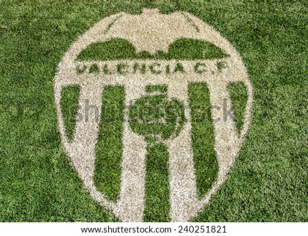 VALENCIA, SPAIN - DECEMBER 14: The image of the Valencia CF in the Mestalla Stadium. This football stadium has a capacity for 55,000 spectators. December 14, 2014 in Valencia, Spain  - stock photo