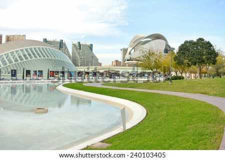 VALENCIA, SPAIN - DECEMBER 14: View of the Arts and Science park in Valencia. Valencia is the third largest city in Spain with 800,000 inhabitants. December 14, 2014 in Valencia, Spain  - stock photo