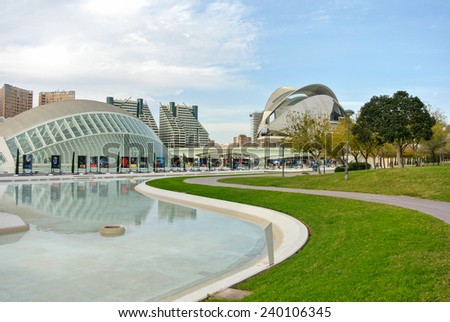 VALENCIA, SPAIN - DECEMBER 14: View of the Arts and Sciences park in Valencia. Valencia is the third largest city in Spain with 800,000 inhabitants. December 14, 2014 in Valencia, Spain  - stock photo