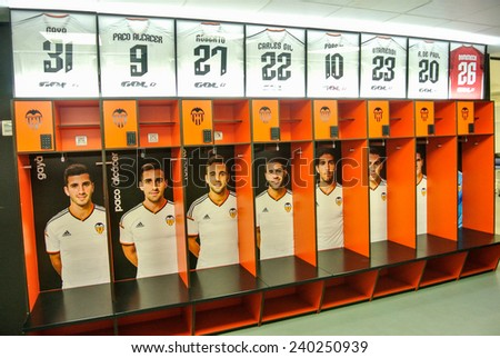 VALENCIA, SPAIN - DECEMBER 14: View of the lockers in the Mestalla Stadium. The Mestalla football stadium has a capacity for 55,000 spectators. December 14, 2014 in Valencia, Spain  - stock photo