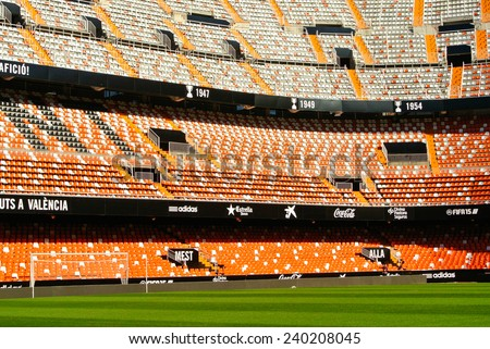 VALENCIA, SPAIN - DECEMBER 14: View of the Mestalla Stadium. This football stadium has a capacity for 55,000 spectators. December 14, 2014 in Valencia, Spain  - stock photo
