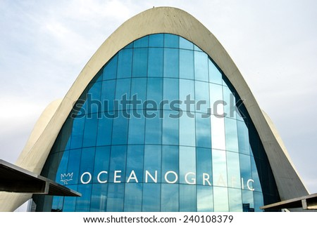 VALENCIA, SPAIN - DECEMBER 14: View of the Oceanografic Centre facade in  the City of Arts and Sciences in Valencia. It was created in 1998. December 14, 2014 in Valencia, Spain  - stock photo