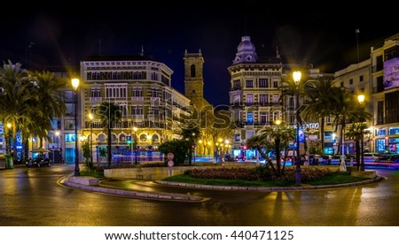 VALENCIA, SPAIN, DECEMBER 30, 2015: view of the plaza de la reina square in valencia during night in winter.