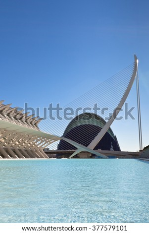 VALENCIA, SPAIN - DECEMBER 24, 2010: View of Valencia architectural complex City of Arts and Sciences (Ciudad de las Artes y las Ciencias) designed by Santiago Calatrava - stock photo