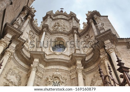 Valencia, Spain facade of the Cathedral Church - stock photo