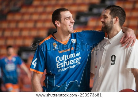 VALENCIA, SPAIN - FEBRUARY 15: Aguilar (L), Reyes (R) during Spanish League match between Valencia Basket Club and Real Madrid at Fonteta Stadium on February 15, 2015 in Valencia, Spain - stock photo
