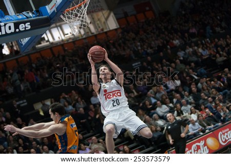 VALENCIA, SPAIN - FEBRUARY 15: Carroll during Spanish League match between Valencia Basket Club and Real Madrid at Fonteta Stadium on February 15, 2015 in Valencia, Spain - stock photo