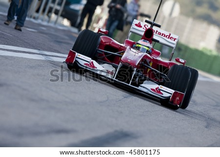 VALENCIA, SPAIN - FEBRUARY 1: F1 Test - Felipe Massa on February 1, 2010 in Cheste, Valencia, Spain