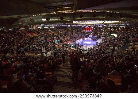VALENCIA, SPAIN - FEBRUARY 15: Fonteta Stadium during Spanish League match between Valencia Basket Club and Real Madrid at Fonteta Stadium on February 15, 2015 in Valencia, Spain - stock photo