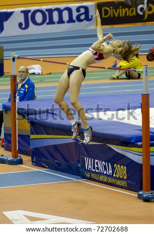 VALENCIA, SPAIN - FEBRUARY 19: High jump competitor of high jump Men of the spanish indoor women national championships at Valencia on February 19, 2011 in Valencia, Spain - stock photo