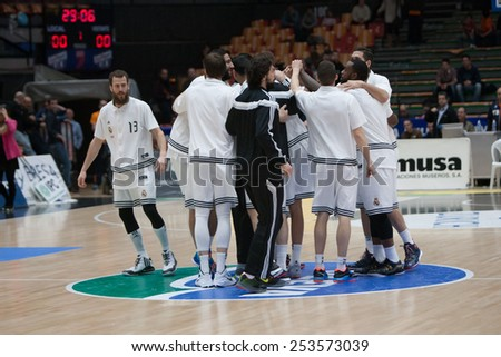 VALENCIA, SPAIN - FEBRUARY 15: Madrid players during Spanish League match between Valencia Basket Club and Real Madrid at Fonteta Stadium on February 15, 2015 in Valencia, Spain