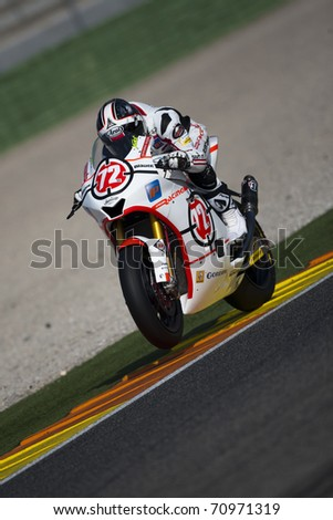 VALENCIA, SPAIN - FEBRUARY 11: Participant in the Moto2 and 125cc Test - Takahashi - on February 11, 2011 in Cheste, Valencia, Spain