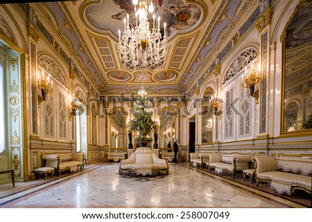 VALENCIA, SPAIN - FEBRUARY 18:  Symmetrical composition of main hall, beautifully decorated, in the old palace ceramics museum, on February 18, 2015 in Valencia, Spain. - stock photo