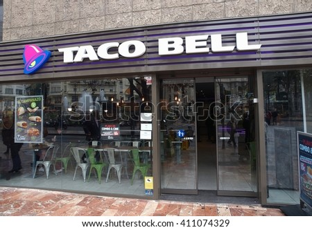 VALENCIA, SPAIN - FEBRUARY 26, 2016. Taco Bell fast-food restaurant in Valencia. Taco Bell is an American chain of fast-food restaurants with more than 6500 restaurants (mostly in the U.S.)