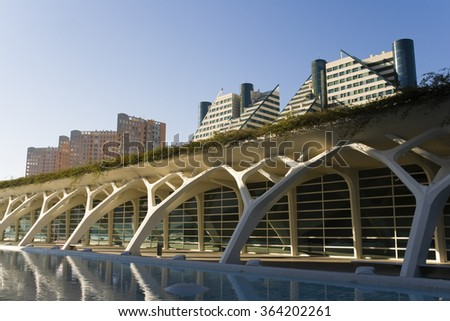 Valencia, Spain. February 18Th 2012. Outside the Science Museum designed by Santiago Calatrava and buildings at the City of Valencia.. - stock photo