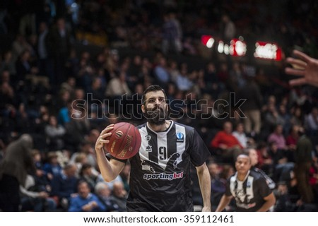 VALENCIA, SPAIN - JANUARY 6: Apollon Tsochlas during EUROCUP match between Valencia Basket and PAOK Thessaloniki at Fonteta Stadium on January 6, 2015 in Valencia, Spain