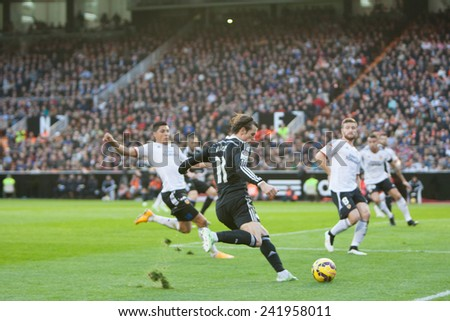VALENCIA, SPAIN - JANUARY 4: Bale (11) during Spanish League match between Valencia CF and Real Madrid at Mestalla Stadium on January 4, 2015 in Valencia, Spain - stock photo