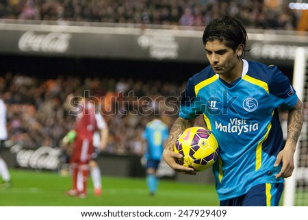 VALENCIA, SPAIN - JANUARY 25: Banega during Spanish League match between Valencia CF and Sevilla FC at Mestalla Stadium on January 25, 2015 in Valencia, Spain - stock photo
