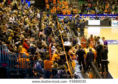 VALENCIA, SPAIN - JANUARY 28: Both teams preparing the strategy during the ACB league match between Valencia Basket  and Asefa Estudiantes, 85-71, on January 28, 2012, in Valencia, Spain - stock photo