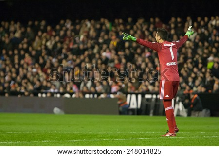 VALENCIA, SPAIN - JANUARY 25: Diego Alves during Spanish League match between Valencia CF and Sevilla FC at Mestalla Stadium on January 25, 2015 in Valencia, Spain - stock photo