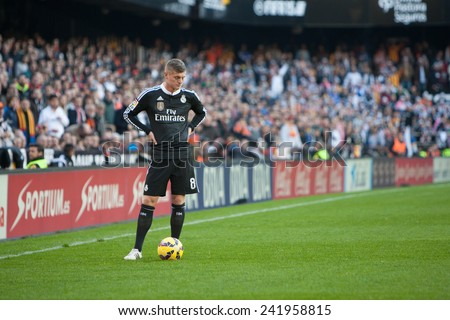 VALENCIA, SPAIN - JANUARY 4: Kroos during Spanish League match between Valencia CF and Real Madrid at Mestalla Stadium on January 4, 2015 in Valencia, Spain - stock photo