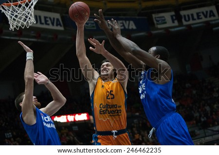 VALENCIA, SPAIN - JANUARY 21: Loncar with ball during Eurocup match between Valencia Basket Club and CSU Asesoft at Fonteta Stadium on January 21, 2015 in Valencia, Spain - stock photo