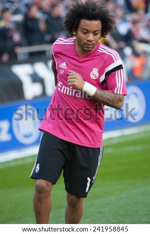 VALENCIA, SPAIN - JANUARY 4: Marcelo during Spanish League match between Valencia CF and Real Madrid at Mestalla Stadium on January 4, 2015 in Valencia, Spain - stock photo