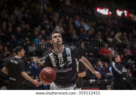 VALENCIA, SPAIN - JANUARY 6: Michail Liapis during EUROCUP match between Valencia Basket and PAOK Thessaloniki at Fonteta Stadium on January 6, 2015 in Valencia, Spain