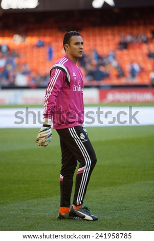 VALENCIA, SPAIN - JANUARY 4: Navas during Spanish League match between Valencia CF and Real Madrid at Mestalla Stadium on January 4, 2015 in Valencia, Spain - stock photo