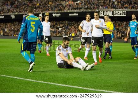 VALENCIA, SPAIN - JANUARY 25: Negredo earned a penalty during Spanish League match between Valencia CF and Sevilla FC at Mestalla Stadium on January 25, 2015 in Valencia, Spain - stock photo