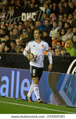 VALENCIA, SPAIN - JANUARY 4: Orban during Spanish King Cup match between Valencia CF and R.C.D. Espanyol at Mestalla Stadium on January 4, 2015 in Valencia, Spain - stock photo