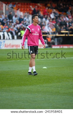 VALENCIA, SPAIN - JANUARY 4: Ronaldo during Spanish League match between Valencia CF and Real Madrid at Mestalla Stadium on January 4, 2015 in Valencia, Spain - stock photo