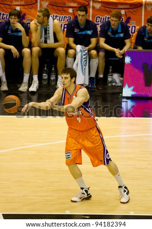 VALENCIA, SPAIN - JANUARY 28: Victor Claver in action during the ACB league match between Valencia Basket  and Asefa Estudiantes, 85-71, on January 28, 2012, in Valencia, Spain - stock photo