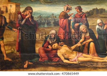 VALENCIA, SPAIN - JULY 20, 2016: Biblical Scene Painting Of Jesus Crucifixion In Metropolitan Cathedral ??Basilica of the Assumption of Our Lady of Valencia (Saint Mary's Cathedral).