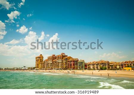 VALENCIA, SPAIN- JULY 14, 2015: City beach in Valencia, Spain - stock photo