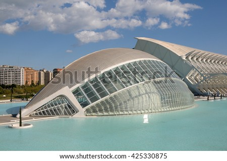 VALENCIA, SPAIN - JULY 11, 2009: The Hemispheric, planetarium in the City of Arts and Sciences in Valencia, Spain - stock photo