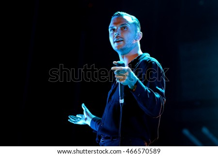 VALENCIA, SPAIN - JUN 11: Hurts (synthpop band) perform in concert at Festival de les Arts on June 11, 2016 in Valencia, Spain.