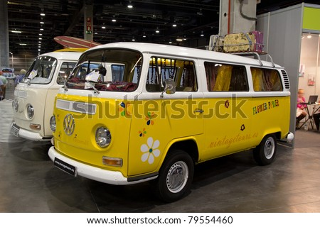 VALENCIA, SPAIN - JUNE 18: A 1968 Vintage Volkswagen Bus is on display at the 2011 Motor Epoca Classic Car Show on June 18, 2011 in Valencia, Spain. - stock photo