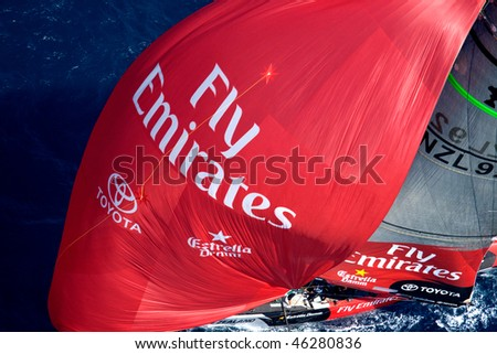 VALENCIA, SPAIN - JUNE 16: - Emirate Team New Zealand in final match of 32nd America's Cup with Switzerland's Alinghi June 26, 2007, Valencia, Spain. - stock photo
