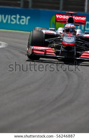 VALENCIA, SPAIN - JUNE 26: Formula 1 Valencia Street Circuit - Jenson Button - June 26, 2010 in Valencia, Spain - stock photo