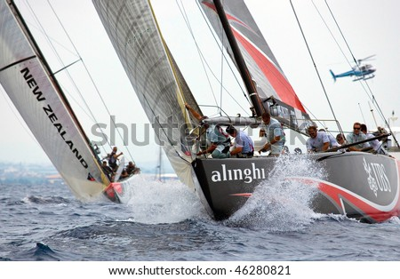 VALENCIA, SPAIN - JUNE 26: Switzerland's Alinghi in final match of 32nd America's Cup with Team New Zealand June 26, 2007, Valencia, Spain - stock photo