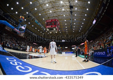 VALENCIA, SPAIN - JUNE 7th: All players during 3rd playoff match between Valencia Basket and Real Madrid at Fonteta Stadium on June 7, 2016 in Valencia, Spain - stock photo