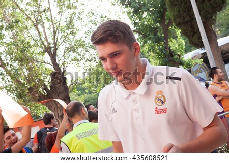 VALENCIA, SPAIN - JUNE 9th: Doncic during 4th playoff match between Valencia Basket and Real Madrid at Fonteta Stadium on June 9, 2016 in Valencia, Spain - stock photo
