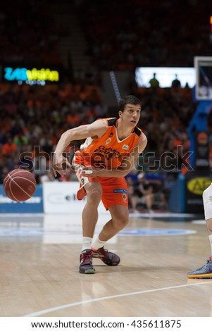 VALENCIA, SPAIN - JUNE 9th: Lucic during 4th playoff match between Valencia Basket and Real Madrid at Fonteta Stadium on June 9, 2016 in Valencia, Spain - stock photo
