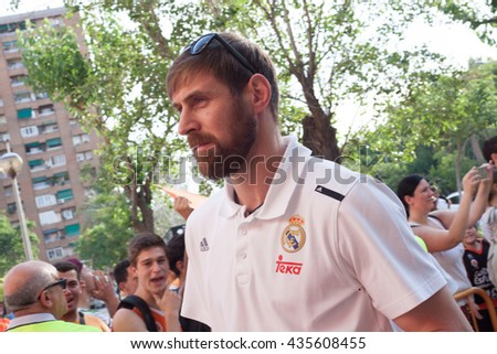 VALENCIA, SPAIN - JUNE 9th: Nocioni during 4th playoff match between Valencia Basket and Real Madrid at Fonteta Stadium on June 9, 2016 in Valencia, Spain - stock photo