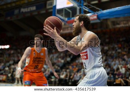 VALENCIA, SPAIN - JUNE 9th: Rodriguez with ball during 4th playoff match between Valencia Basket and Real Madrid at Fonteta Stadium on June 9, 2016 in Valencia, Spain - stock photo