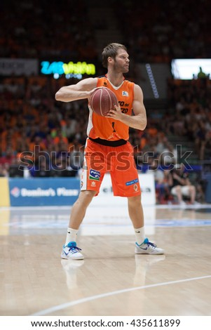 VALENCIA, SPAIN - JUNE 9th: Stefansson during 4th playoff match between Valencia Basket and Real Madrid at Fonteta Stadium on June 9, 2016 in Valencia, Spain - stock photo