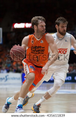 VALENCIA, SPAIN - JUNE 9th: Stefansson with ball and Nocioni during 4th playoff match between Valencia Basket and Real Madrid at Fonteta Stadium on June 9, 2016 in Valencia, Spain - stock photo