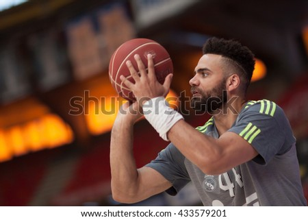 VALENCIA, SPAIN - JUNE 7th: Taylor during 3rd playoff match between Valencia Basket and Real Madrid at Fonteta Stadium on June 7, 2016 in Valencia, Spain - stock photo
