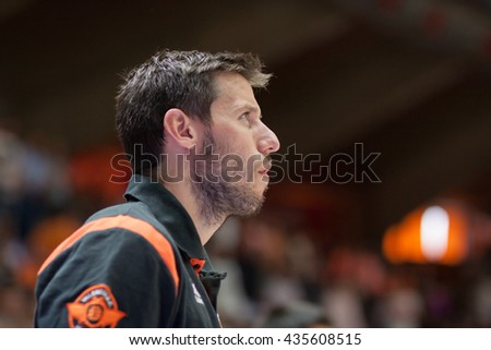 VALENCIA, SPAIN - JUNE 9th: Van Rossom during 4th playoff match between Valencia Basket and Real Madrid at Fonteta Stadium on June 9, 2016 in Valencia, Spain - stock photo